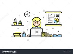 Vector illustration of color icon in flat line style. Linear cute and happy girl. Graphic design concept of woman financial accountant use in Web Project and Applications Outline isolated object.