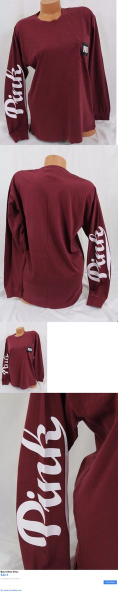 Women T Shirts: Victorias Secret Pink Sz L ~Campus Long-Sleeve Pocket Tee~Shirt, Maroon, Script BUY IT NOW ONLY: $42.5 #priceabateWomenTShirts OR #priceabate