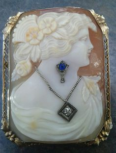 Art Deco Habile shell cameo brooch pendant with a sapphire and diamond | eBay