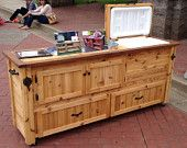 Rustic Cooler Cabinet, Outdoor Bar, Serving Table with Storage Drawers, ADD a Big Green Egg or Kamado Joe