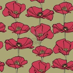 Elegance Seamless pattern with poppy flowers, vector floral illustration in vintage style Stock Photo
