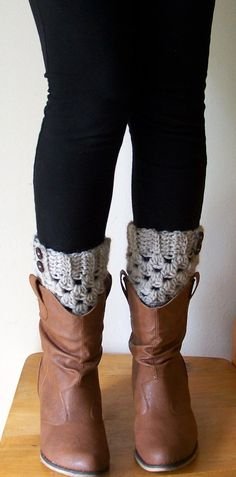Oatmeal Boot Cuffs Boot Toppers Boot Socks Leg by SalemWolfDesigns, $22.00