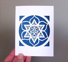 HANUKKAH Card Jewish Star Flower Paper Cut Blue & by arwendesigns