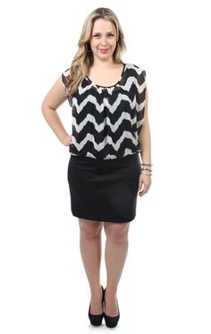 plus size blouson club dress with chevron pattern and straight skirt
