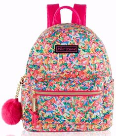 Betsey Johnson 2pc Sprinkle Backpack Set Bookbag Multicolored Pink Fur Keychain #BetseyJohnson #Bookbag