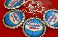 Personalized Las Vegas wine charms  Vegas wedding by WilmaandBetty, $24.00