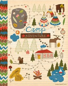 Camp Journal book for guests to write birthday wishes and memories of Declan's first year. Go Camping, Cute Illustration, Oeuvre D'art, Illustrations Posters, Art For Kids, Stationery, Doodles, Inspiration, Character