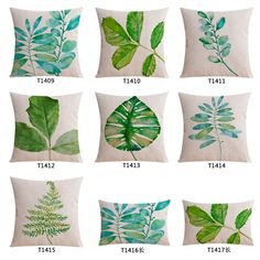 tropical leaves green country decor cushion cover cotton sofa throw pillow case decorative cojines #Affiliate