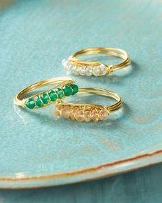 Drusy wire rings