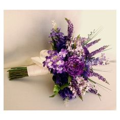 Faux Lilac Wedding flowers original Bridal bouquet by AmoreBride... ❤ liked on Polyvore featuring home, home decor, floral decor, purple home decor, flower bouquets, purple bouquets, artificial bouquets and fake flower stems