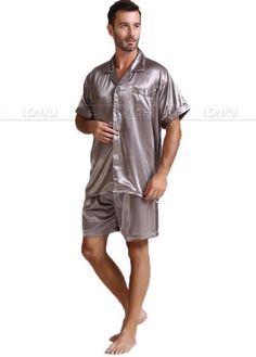 38c75fe309 Mens Silk Satin Pajamas Pajama Pyjamas Short Set Sleepwear Loungewear  U.S.S