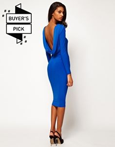 ASOS Midi Bodycon Dress With Drape V Back - not a fan of the material