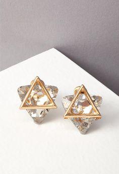 Triangle Cutout Rhinestone Earrings