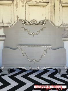 This elegant Old Hollywood Bed is glamorous. I used warm gray and metallic paints. I can imagine it layered in fluffy pure white duvets and ruffled shams. Silver Paint Walls, Silver Painted Furniture, Funky Furniture, Furniture Makeover, Refurbished Furniture, White Furniture, Paint Furniture, Furniture Projects, Wood Projects