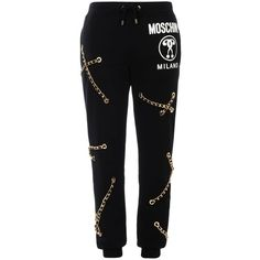 Moschino Casual Trouser ($1,070) ❤ liked on Polyvore featuring pants, black, moschino, moschino pants, black trousers and black pants