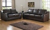 Bedford 3 and 2 Seater Brown Leather Sofas