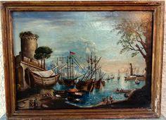 Vedute Maritime Imaginaire, Ecole Italienne 18ème, Huile/toile, ARTE TRES GALLERY, Proantic