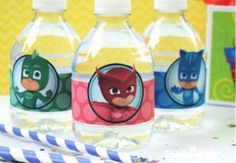 Free PJ Masks Party Printables Grab these free PJ Masks water bottle labels from Luvibee Kids Co via Mandy's Party Printables for your next superhero birthday party! Pjmask Party, Birthday Party Drinks, Superhero Birthday Party, 4th Birthday Parties, Birthday Diy, Ideas Party, Birthday Ideas, Party Masks, Sofia Party
