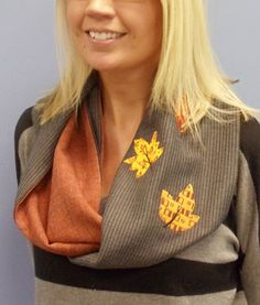 Free Project Instructions: Fall Into Fashion Scarf. Use your own leaf patterns if you want it completely free. A beautiful sewn Infinity scarf!