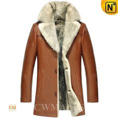 CWMALLS® 2in1 Mens Wolf Fur Coats CW855583
