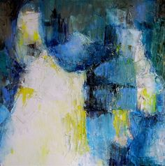 Original abstract oil painting on canvas blue white by Mossmottle, $140.00