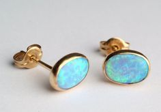 Opal Earring Studs / Yellow Gold Filled with 6 x 8 mm by Noyfir