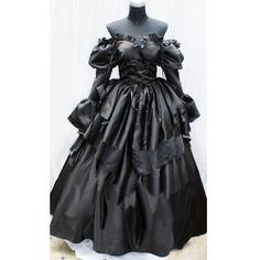 Black Gothic off the Shoulder Wedding Ball Gown Cosplay Costumes  Goth WWII English Diva Red Womens Dress Outfits Cosplay Costumes 6 Piece  SKU-2234020