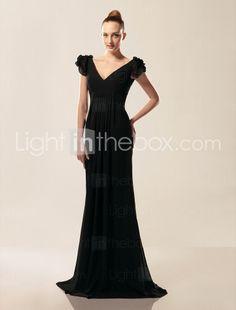 Chiffon Sheath/ Column V-neck Short Sleeve Floor-length Evening Dress  Formal cruise night