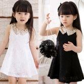 Baby Kids Children's Girls Lovely Sequins Collar Sleeveless Lace Vest Skirt Princess Dress