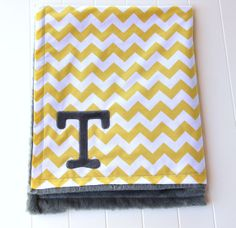 Chevron Blanket With Monogram Yellow Chevron by mylittlemookie, $44.00