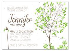 Bat Bar Mitzvah Tree Green Invitations