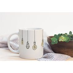 Edison Lumineer Bulb Wrap Around Cute Illustrated Ceramic Plastic... ($15) ❤ liked on Polyvore featuring home, kitchen & dining, drinkware, drink & barware, home & living, mugs, silver, quote coffee mugs, plastic container and plastic drinkware