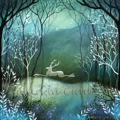 An art print in a mount of 'Moonlight Wood'.' by Amanda Clark. Original painting is available.