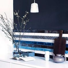 Kitchen with Indigo tiles by Made a Mano - #madeamano - www.madeamano.it - Rosario Parrinello