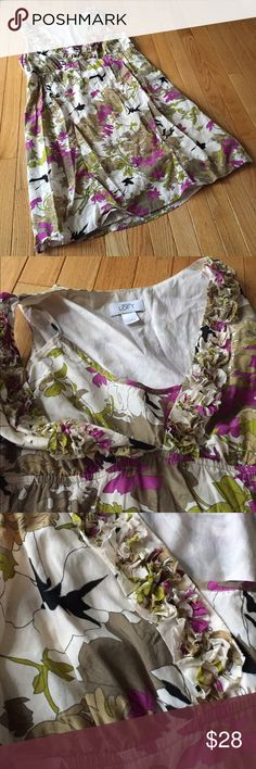 """Loft floral sleeveless dress Sz 14 Gorgeous pattern. Fully lined with slip top layered under ruffled vneck and empire waist. Length approx. 36.5"""". Smoke free. e LOFT Dresses"""