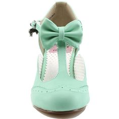 Women's Pin Up Couture Flapper-11 Wing Tip T-Strap Pump Mint ($57) ❤ liked on Polyvore featuring shoes, pumps, mint shoes, vegan pumps, wingtip shoes, buckle shoes and t strap pumps