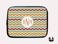 Laptop Sleeve, Laptop Case, Laptop Bag Colorful Chevron & Orange Monogram