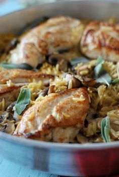 Baked chicken and orzo with sage and mushrooms. www.lemonsforlulu.com
