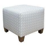 Cross Section Ottoman - Skyline Furniture - in a gray lattice fabric :: $184.99