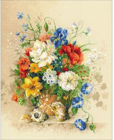 Flemish Summer Flowers - Cross Stitch Kit