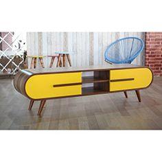 Te Home Retro Oval Çift Çekmeceli Tv Ünitesi - Ceviz / Sarı