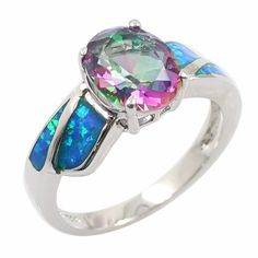 11.42$  Watch now - http://aitt7.worlditems.win/all/product.php?id=J1105BL-3 - Fashion Shining CZ Diamond Simulated Opal 925 Sterling Silver Ring Women Girl Wedding Engagement Jewelry Accessory