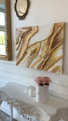 Resin Wall Art, Gold Wall Art, Diy Resin Art, Large Canvas Wall Art, Abstract Canvas Art, Diy Canvas Art, Images Esthétiques, Acrylic Pouring Art, Fabric Painting