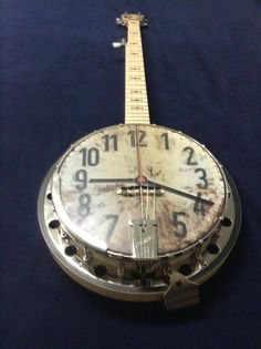 Cool Clock Idea - Cornbread Banjos makes custom printed banjo heads. The banjo heads go for $75.00, we can print ALMOST any picture of you choice or you can pick from any of my own art work.  EmailCornbreadbanjos@gmail.com