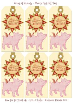 Wings of Whimsy: Merry Pig Gift Tags - free for personal use #vintage #ephemera #printable