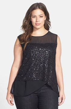 Main Image - Dantelle Tiered Sequin Front Sleeveless Top (Plus Size) Plus Size Tops, Plus Size Women, Plus Size Dresses, Plus Size Outfits, Curvy Fashion, Plus Size Fashion, Casual Elegance, Casual Outfits, Clothes