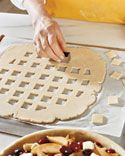Faux Lattice - Roll pie dough out flat then cut out squares.  Martha Stewart.