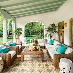 Spanish-Style Luxurious Loggia Though this loggia is new, its Mediterranean tile and arches make it look original to the Spanish-style home. Outdoor Rooms, Outdoor Living, Outdoor Furniture Sets, Outdoor Decor, Outdoor Paint, Outdoor Seating, Spanish Style Homes, Spanish House, Spanish Garden