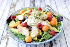 Qooking.ch | Salade californienne Fruit Salad, Cobb Salad, Potato Salad, Potatoes, Ethnic Recipes, Food, Kitchens, Vitamins, Greedy People