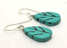 1.5 inches long Turquoise Magnesite Leaf Drop Earrings | AyaDesigns - Jewelry on ArtFire